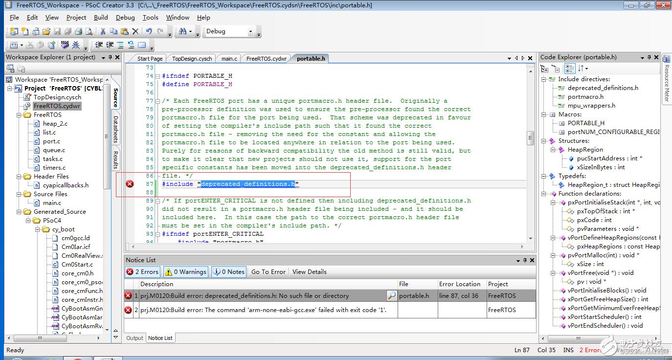 赛普拉斯 CYBL10X6X 系列移植 FreeRTOS 8.2.3