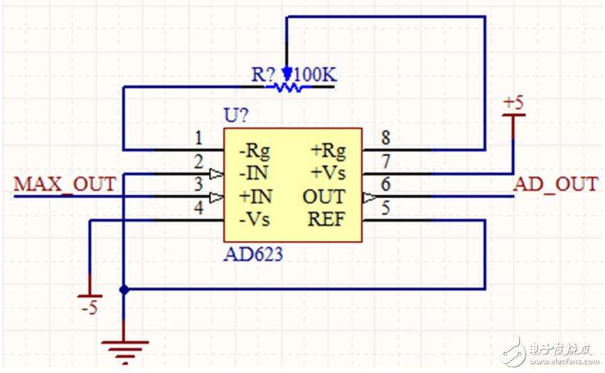 放大电路ad623 双电源 信号失真(详图)