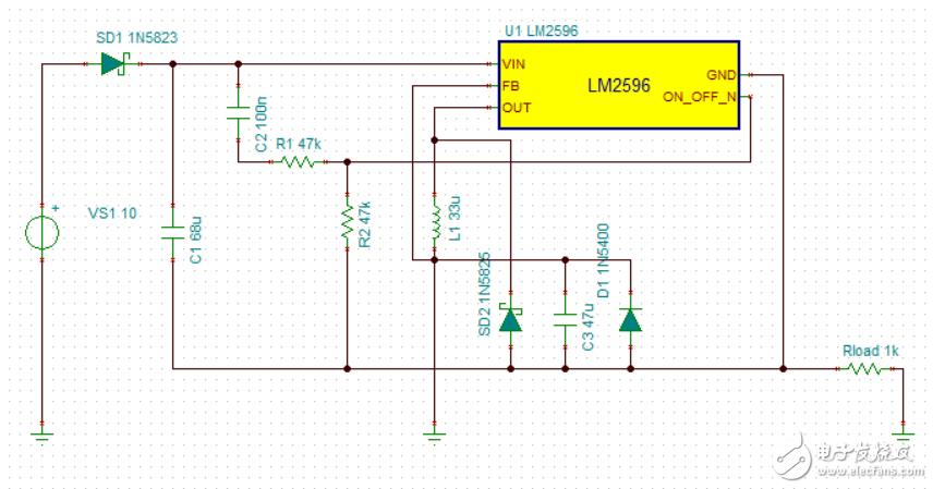 急,LM2596产生-5V电压仿真失败