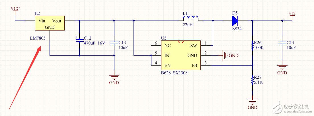 B628升压     DC 5V--DC 12V     前端7805发热