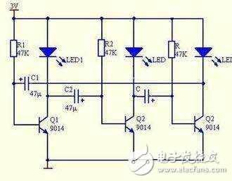 求分析简单的流水灯电路图图片