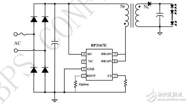 BP3167E隔离全压18W、省VCC电容方案