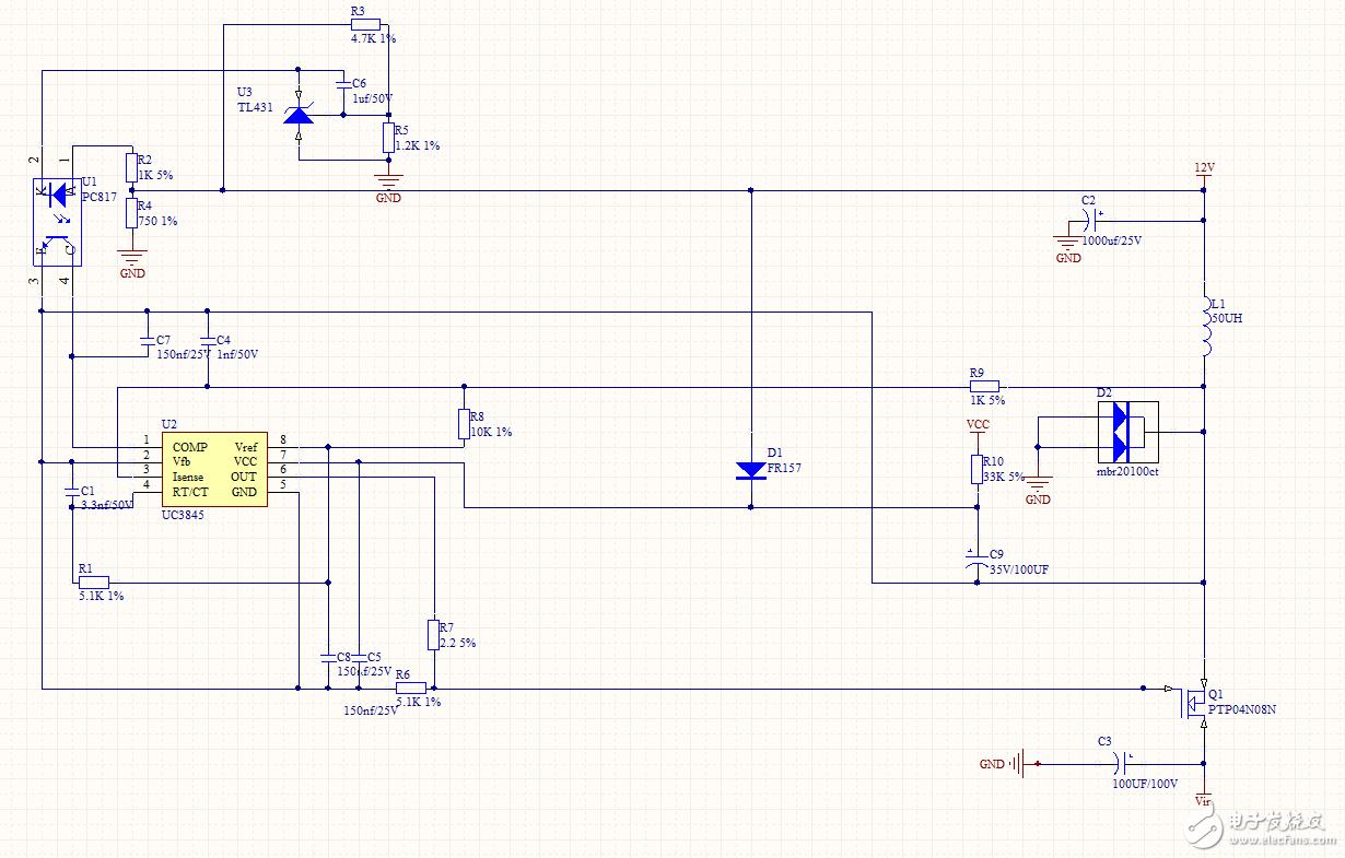 uc3845开关电源 上电有吱吱声(啸叫)