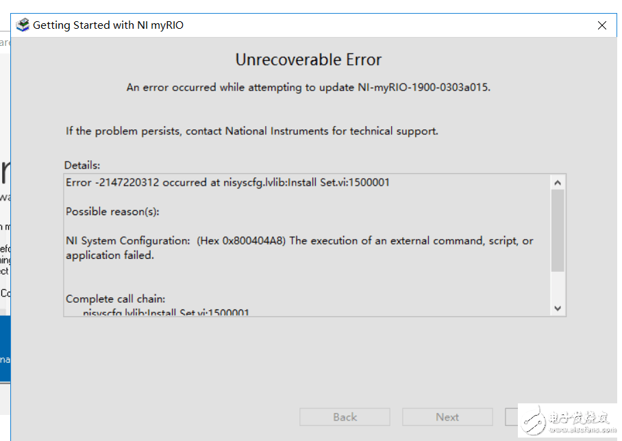 myrio 1900 连接电脑驱动程序报错
