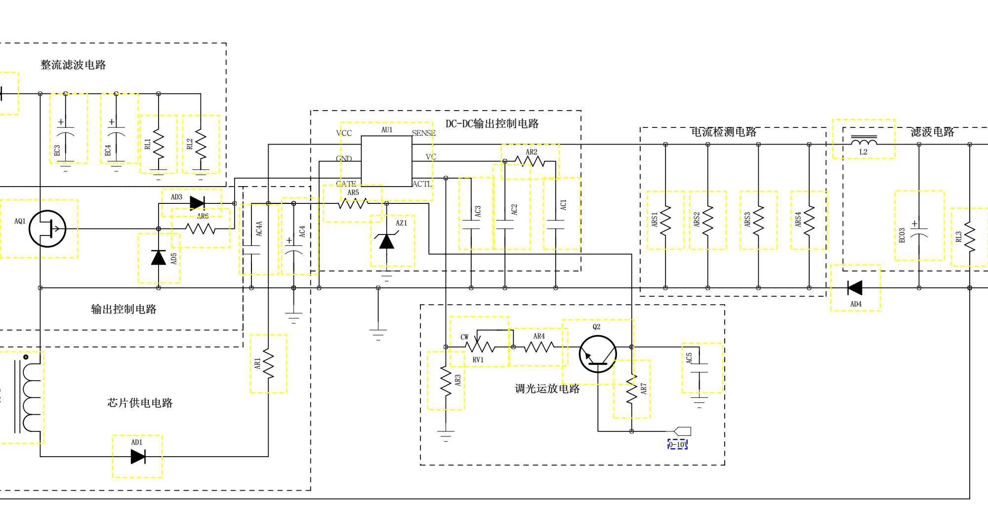 LED灯的0-10V可调灭光电路