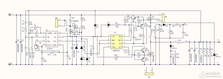 BP6903A同步整流DC36-80V输入,输出DC12V11.5A,效率92%以上的一个电源测试板。