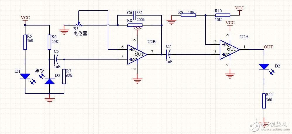 lm358外围电路,一个是放大电路一个是整形,放大倍数怎么计算,整形后最终输出的是什么,电位器起到什么作用?