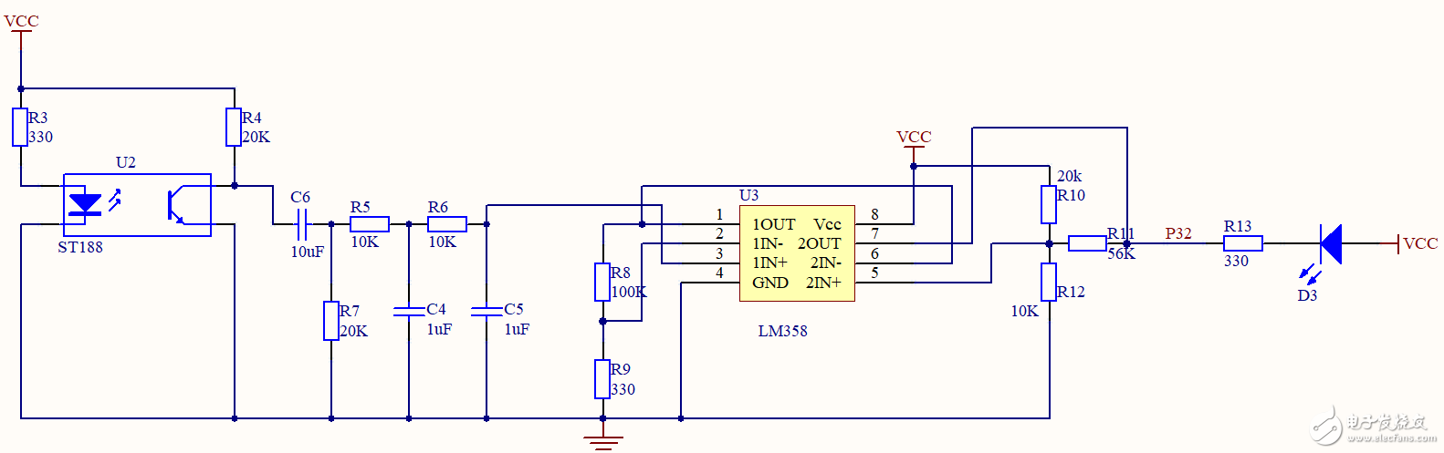 这是一个用ST188反射式光电传感器检测脉搏的电路,请问哪几个器件组成了什么电路,有什么作用?