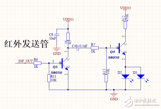 红外发射控制电路,INF_OUT是单片机控制信号,H/L转换,但是Q4这么设计会不会有问题?