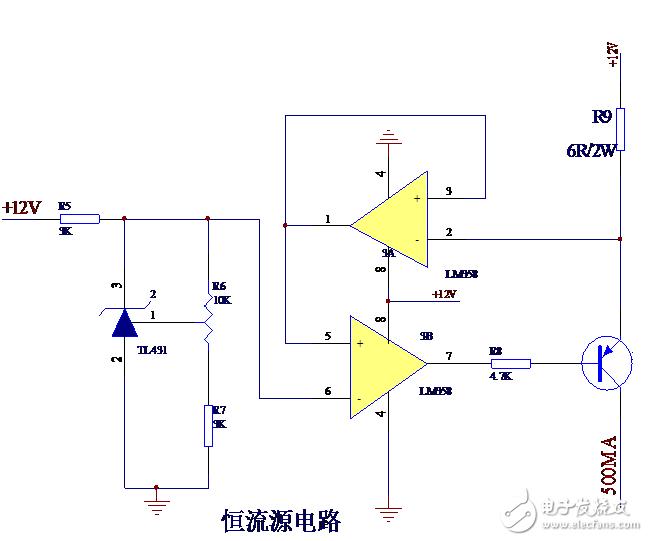 用三极管做一个500mA恒流源,实测时R9(6Ω 2W)总是会过热烧掉是什么原因?如何解决?