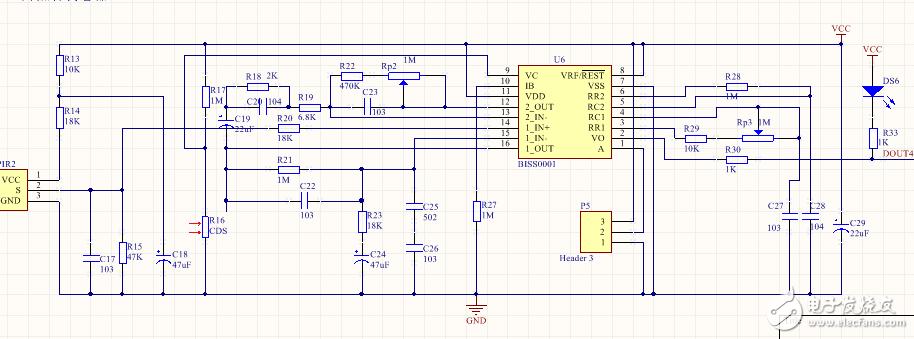 BISS0001红外热释传感器电路原理图设计无论感应到有没有人都都会输出高电平这是为什么?什么原因造成的?