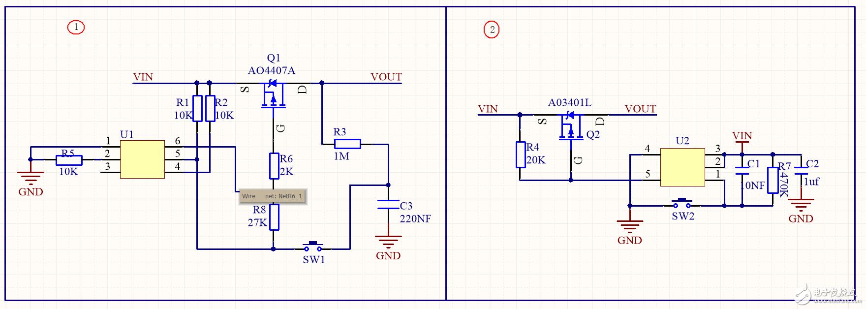 如下图所示,请问这个电路U1和U2的型号是什么IC?