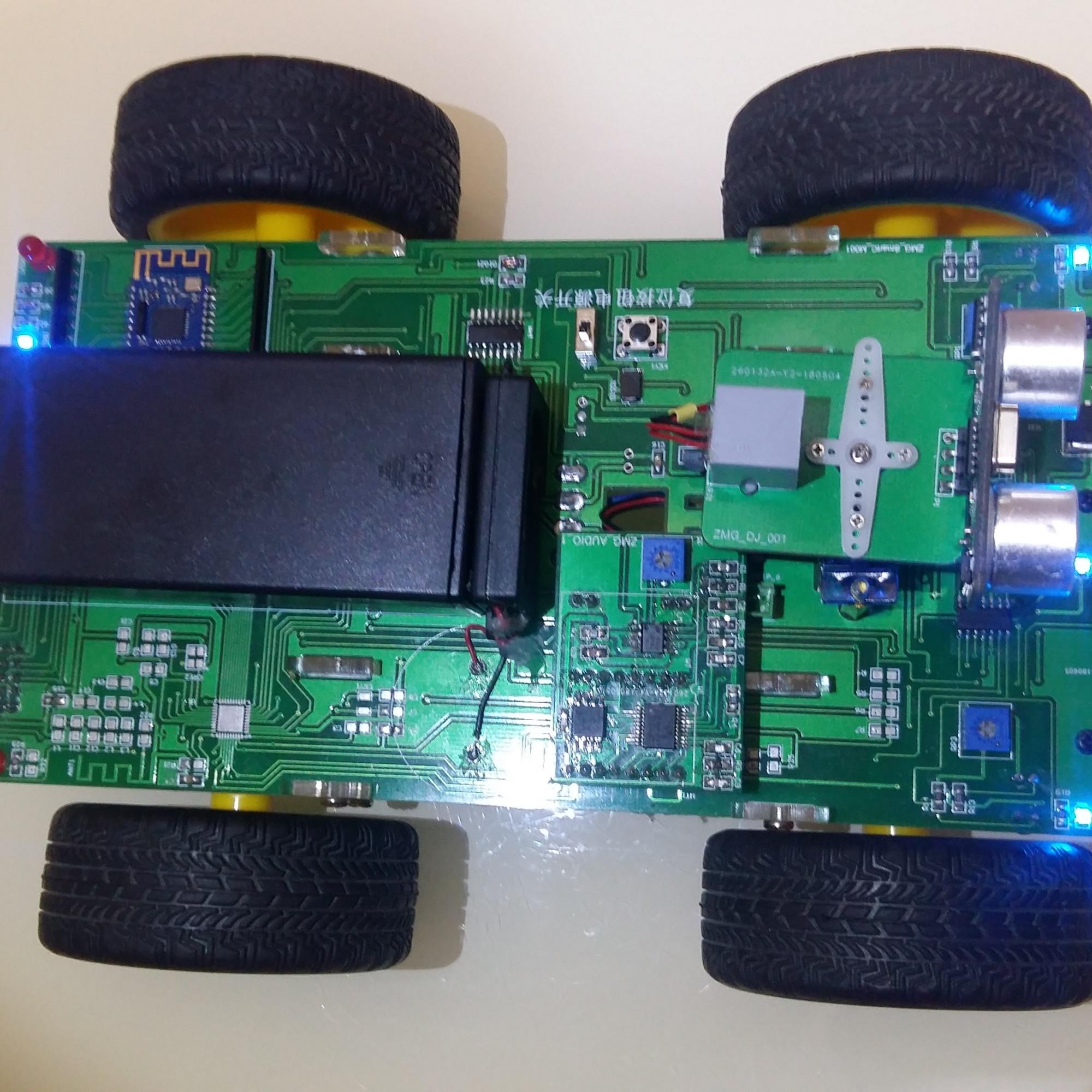 DIY 一体化智能小车  带有语音  电池电量检测  循迹  超声波避障