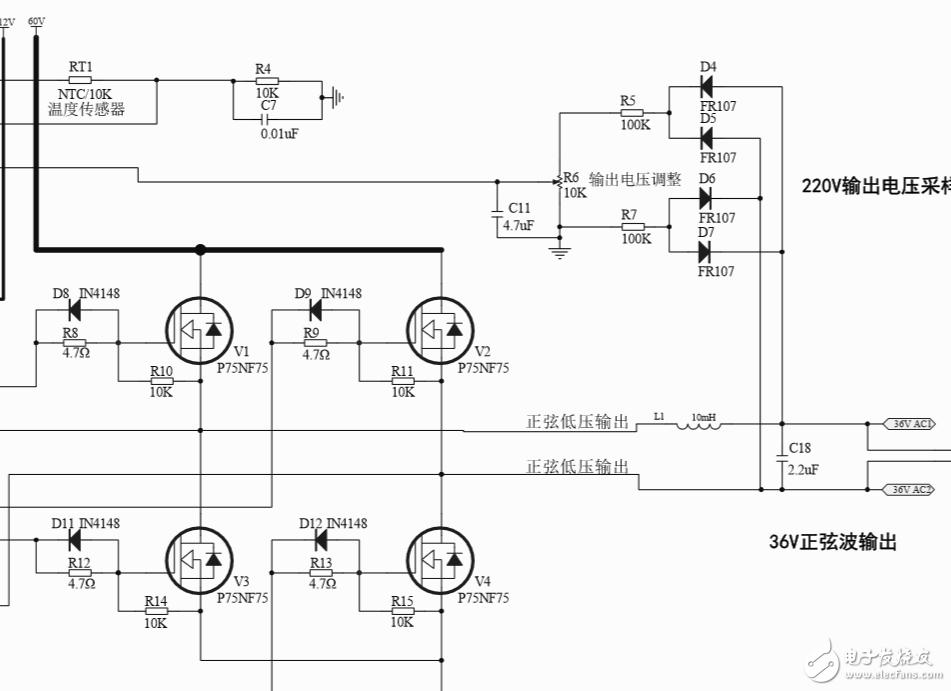 请问全桥逆变电路输入一端接60V直流电输入,另一端接驱动IR2110,为什么输出会是36V了?