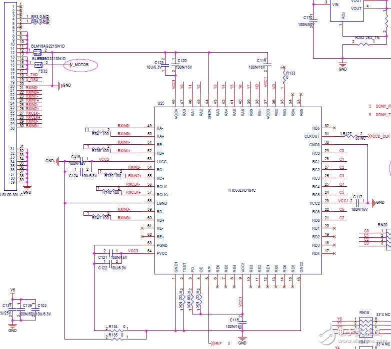 SONY一体机芯FCB-CV7500输出的LVDS信号转换问题