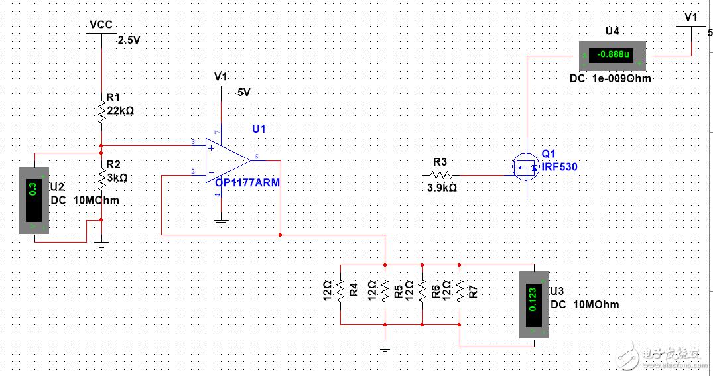 请问这个电路仿真出来怎么不是0.3V?