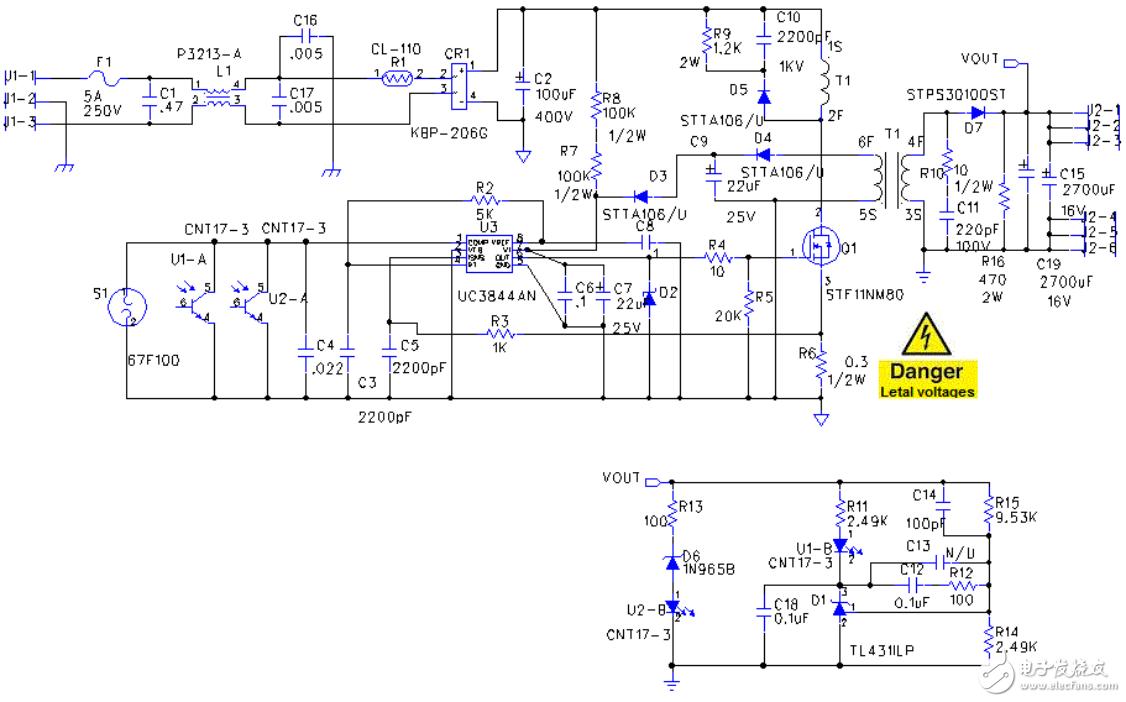 【电路图分享】一个简单的低成本12伏直流50W离线SMPS开关电源电路