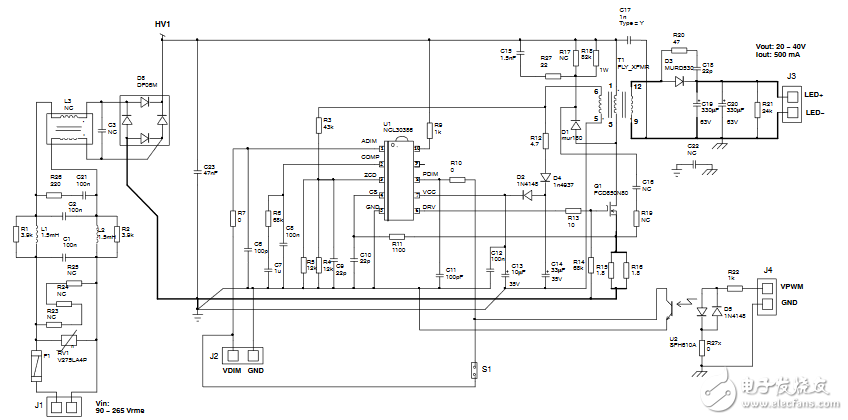NCL30386/88 PFC反激控制器控制的LED驅動器的實驗結果