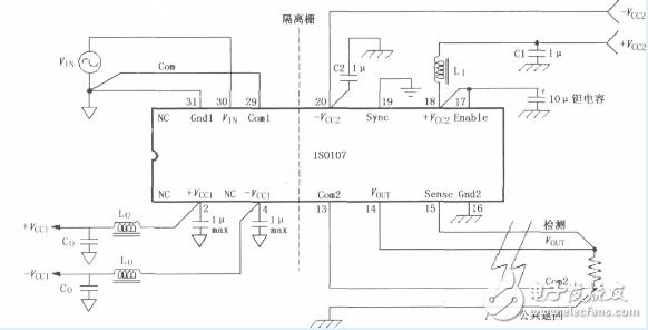 ISO107信号与电源的基本连接电路图