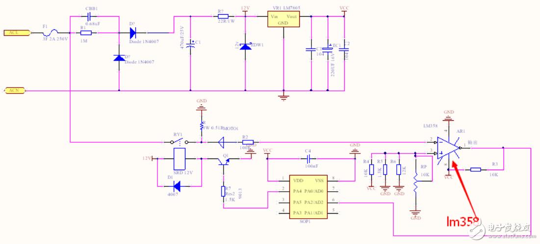 电流检测电路中LM358在此起到什么作用?