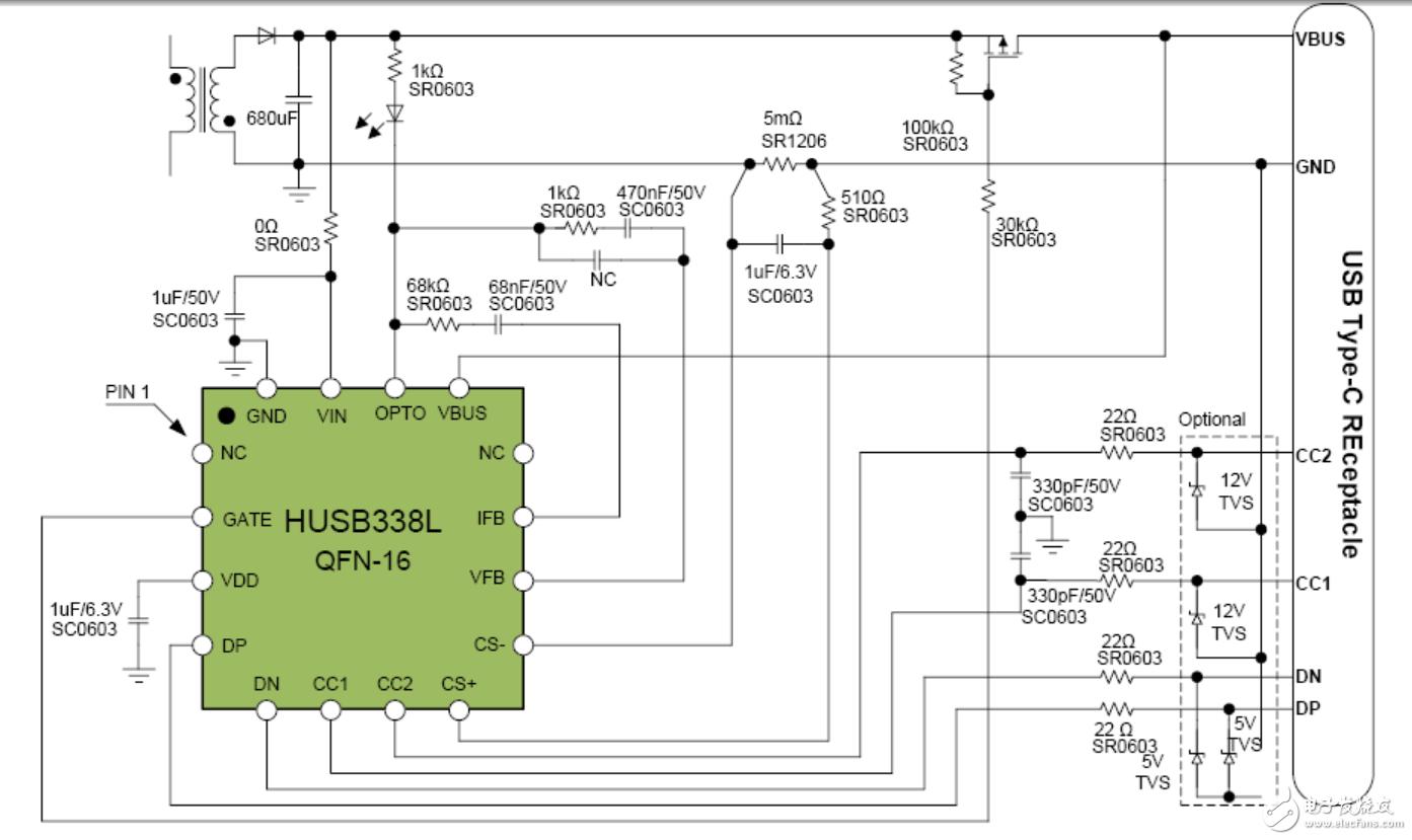 HUSB338L PD快充芯片资料及技术指南