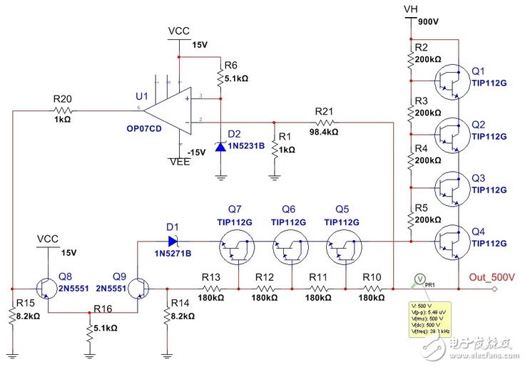 一个输出500V高压稳压电源电路分析