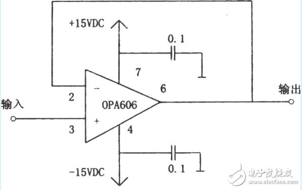 OPA606构成的12MHz宽带缓冲器电路图