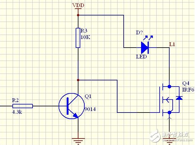 三极管驱动mos管来控制灯的亮度电路分析
