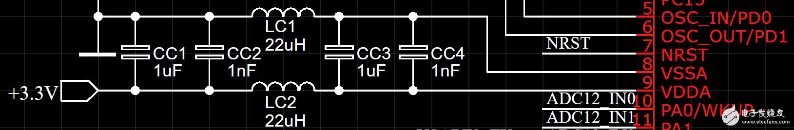 微控制器附近的电感器