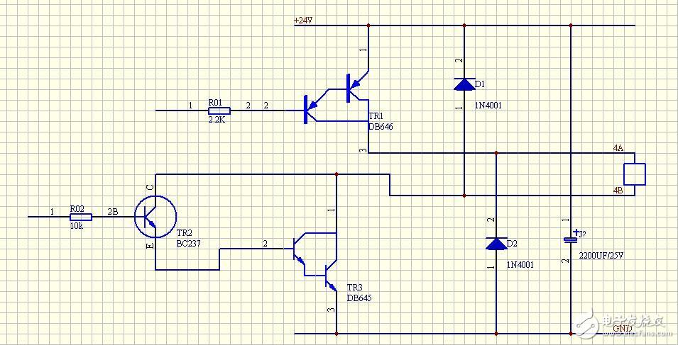 分析一下这个控制继电器电路