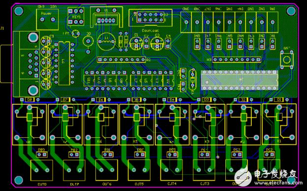 【AD 作品】ATmega8+LM2576+MAX232 8路继电器控制器工控板 PCB和原理图