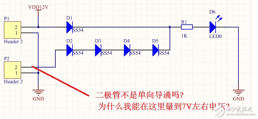 二极管不是单向导通吗,为什么反向能测量到7V左右电压?