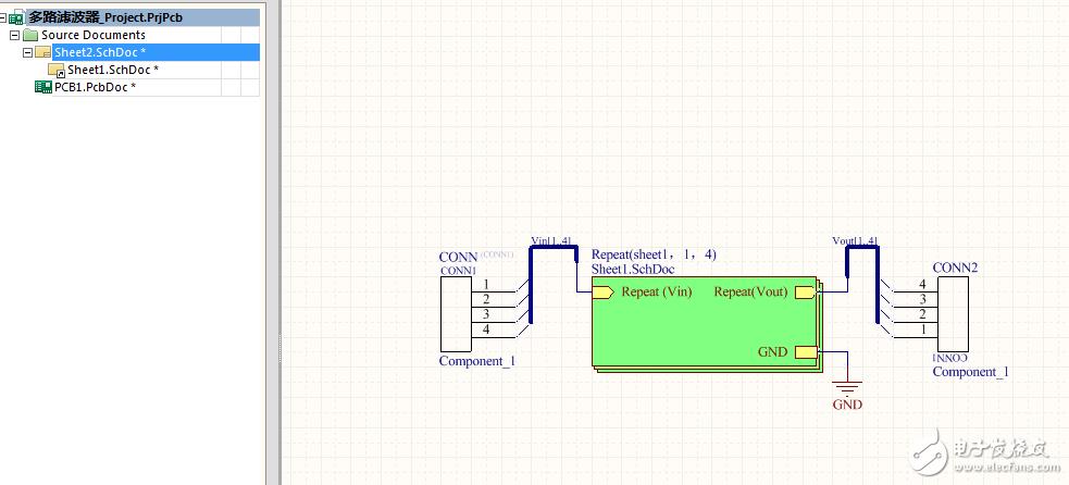 请问PCB多通道设计时,只显示一路,是什么问题
