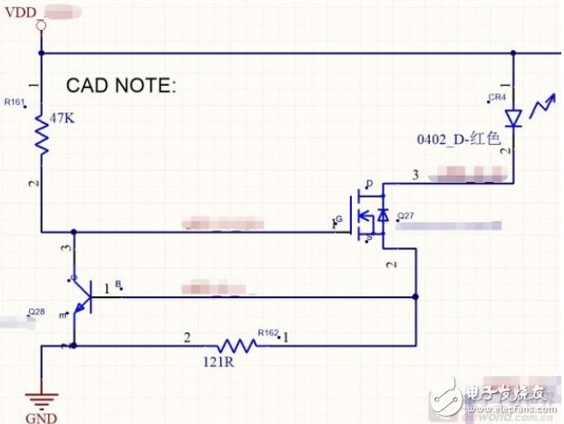 如何理解这个三极管和MOS管组成的电源指示电路?