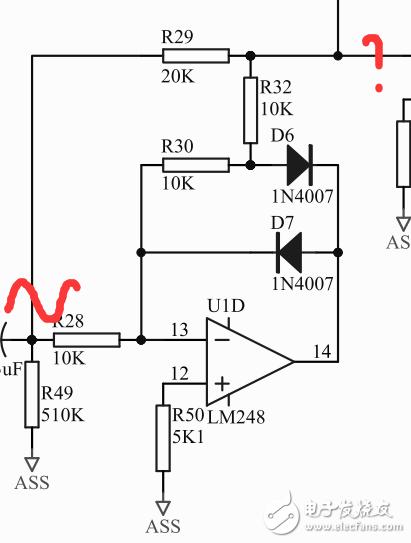 分析一个运放两个二极管的电路?