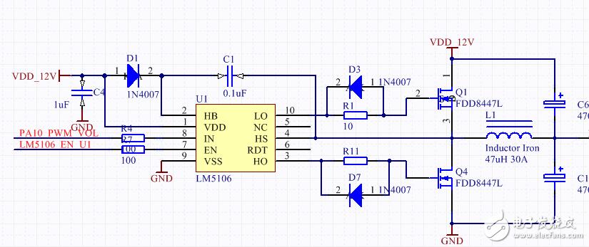 请问关于LM5106设计一款调压电路遇到问题