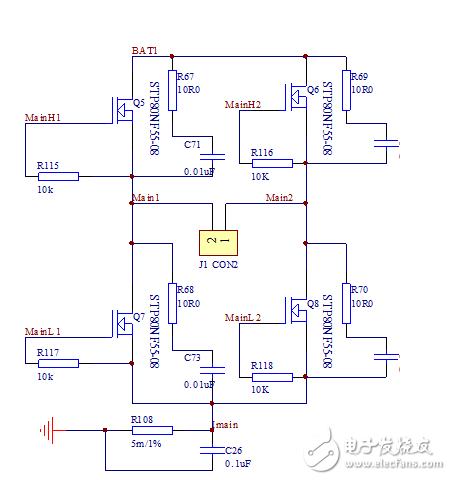直流电机驱动全桥电路中和MOS管并联的电容和电阻有什么作用?