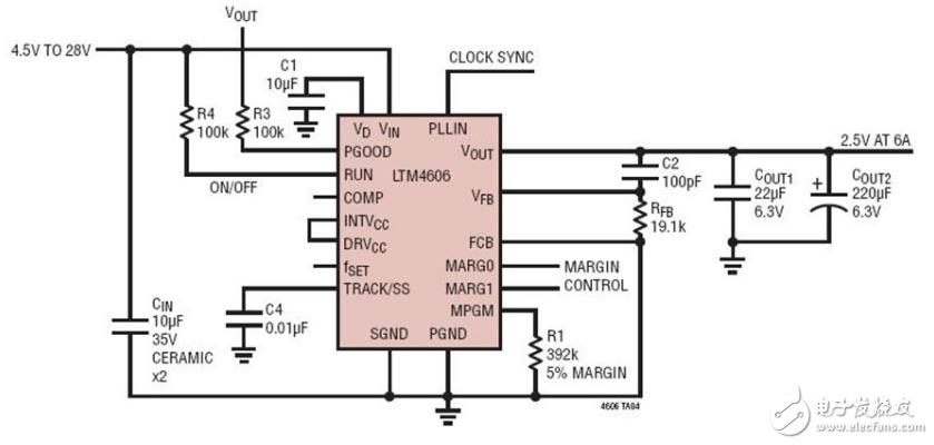 电路集结号 #4:4.5~28VIN 至 2.5VOUT/6A 超低噪声 μModule® 电源