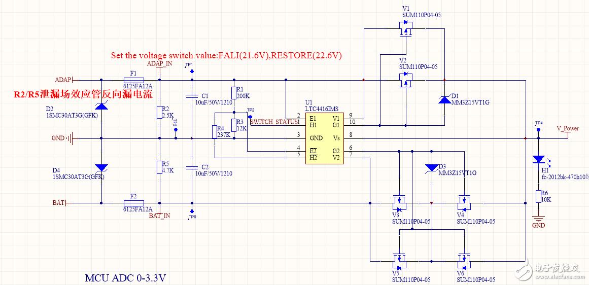 LTC4416冗余电源带负载时无法切换