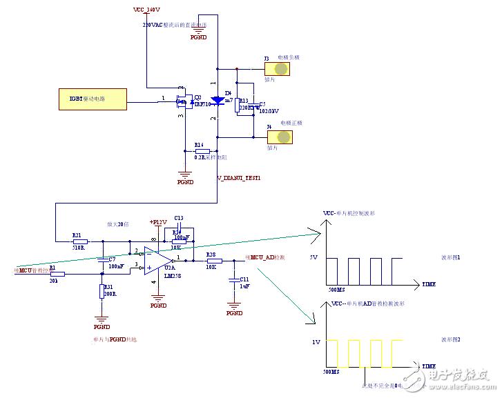 直流电机电流通过康铜丝采样经过运放后送入mcu采样,电路图(参考样品