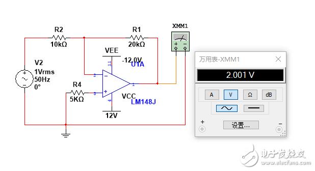 Multisim放大电路仿真直流电源时显示为0