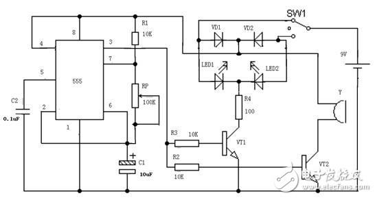 555定时器构成汽车转向灯电路