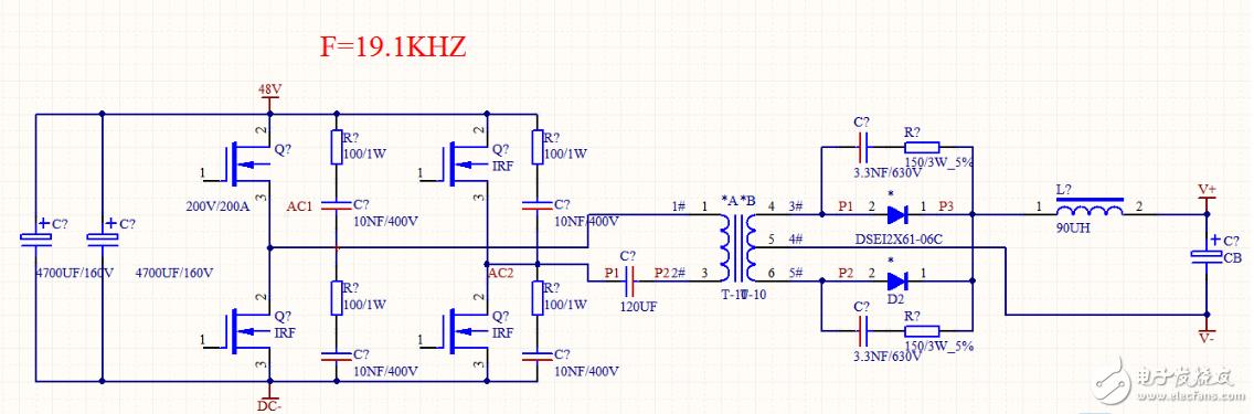 全桥变换电路MOSFET存在反峰电压过高的问题