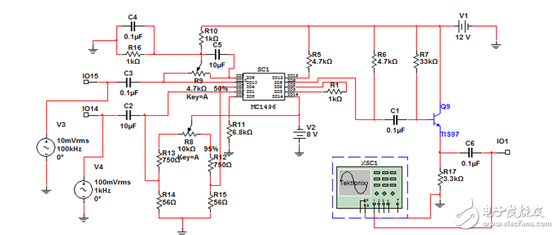调制解调器构成的调幅电路计算