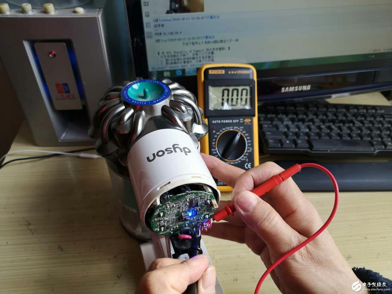 请教专业大神,戴森吸口滚轮电机不转,检测主板输出供电部分无电输出