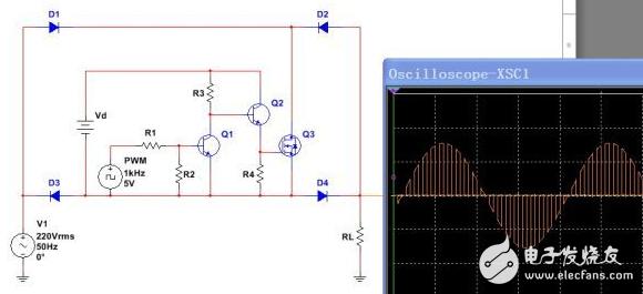 220V交流电MOS管电阻性负载PWM交流调压电路