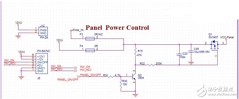 请问这个面板电源控制电路的实现原理是什么