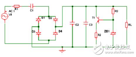 RC阻容降压,后面的P三极管和稳压管如何进行稳压的?