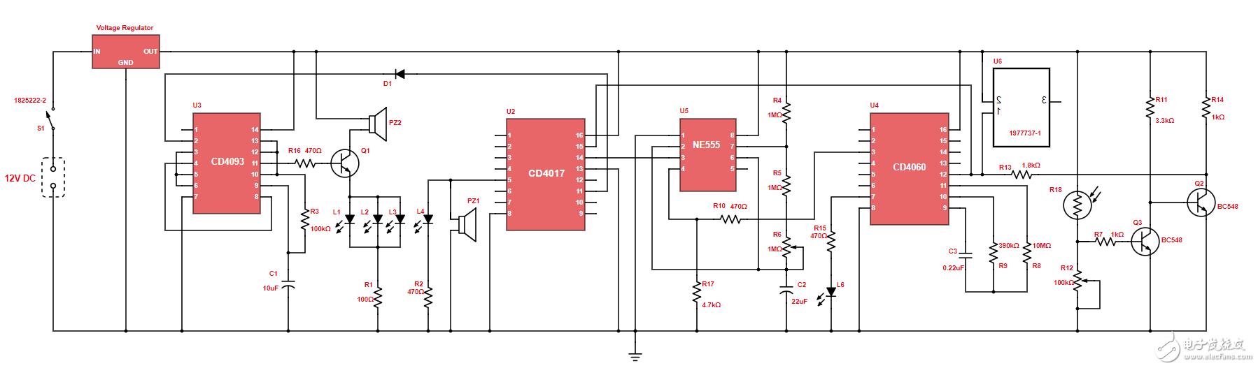【每天看电路第97期】扬声器和LED报警电路