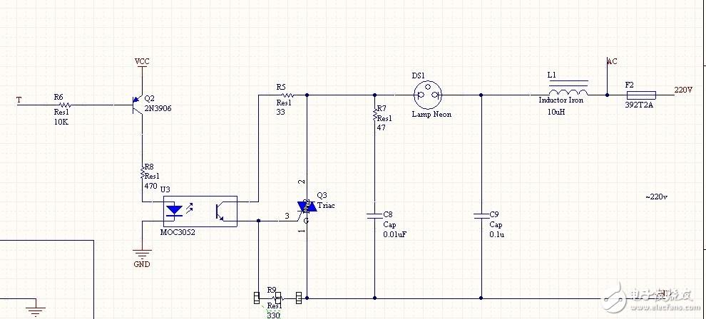 VD,可控硅控制极G,K极开始充电,此时可控硅控制极有触发电流而导通,灯泡H亮。   此时若松开按钮开关SB,因电阻R2的阻值较大,充电电流缓慢减小,使可控硅的导通维持一段较长的时间,这段时间也就是灯泡工作的延时时间。随着电容C的充电,其端电压逐渐升高,充电电流逐步减小,可控硅因得不到足够的触发电流而截止,灯泡H熄灭,完成了一个延时控制照明灯的过程。